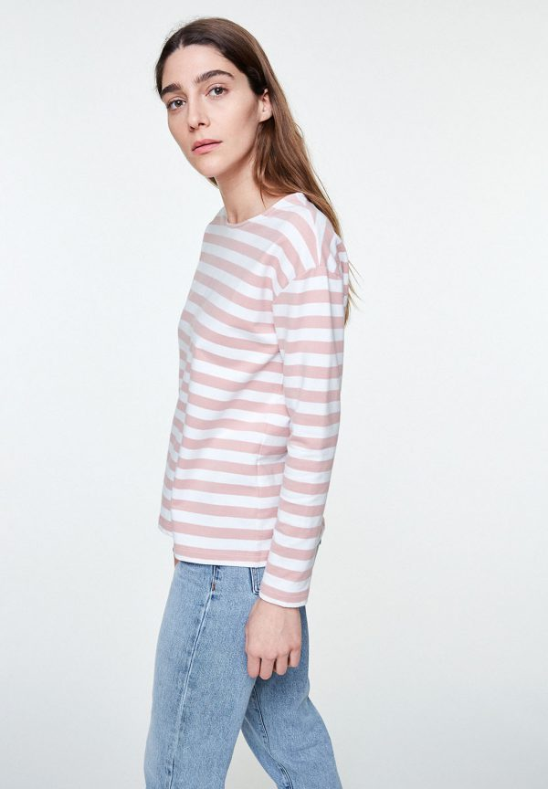 Pink striped top with button up back ARMEDANGELS