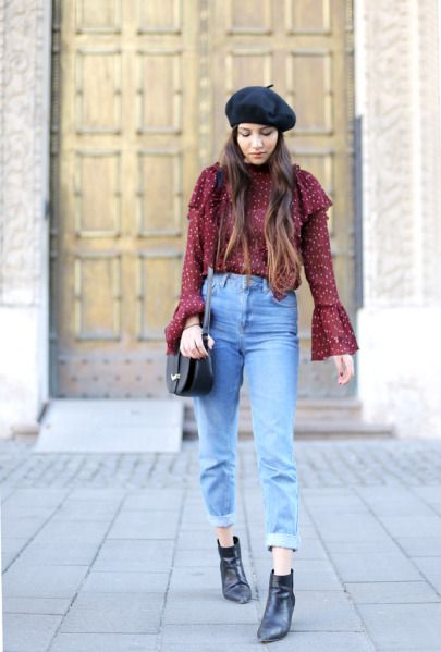 Mom jeans met bordeaux rode top | Kerstoutfits met items die je al hebt | Good For