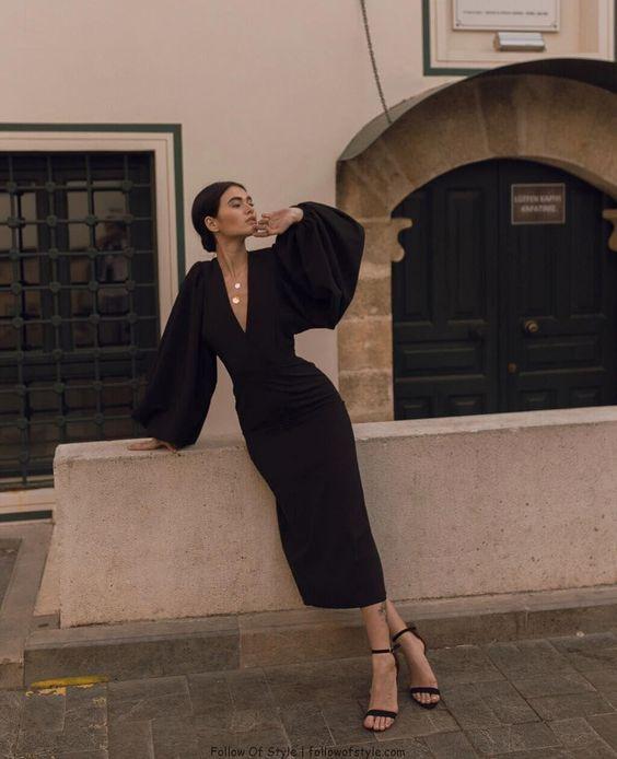 Zwarte jurk met pofmouwen | Kerstoutfits met items die je al hebt | Good For